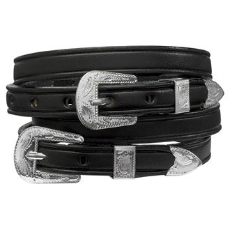 SILVER BUCKLE LTHR SPUR STRAPS