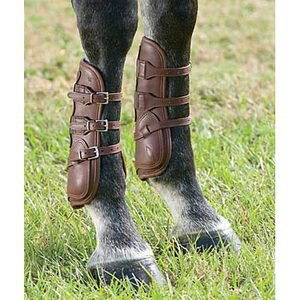 Dover Premier Leather Open Front Horse Boots with Buckle Closure