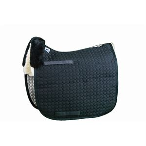Mattes Gold Wool Square Pad with Bare Flaps - Dressage