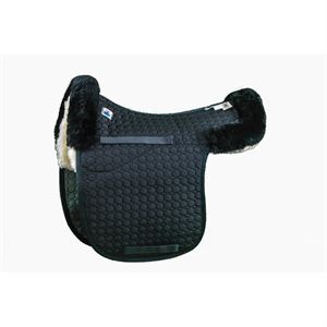 Mattes Gold Wool Contour Pad with Bare Flaps and Rear Trim - Dressage