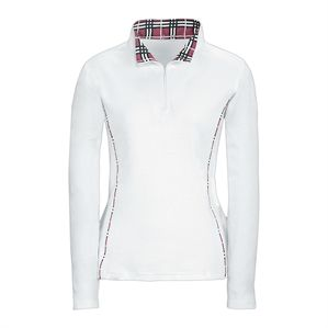 Riding Sport Plaid Trim Zip Mock T-Neck Shirt