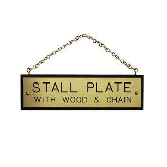 WALNUT PLAQUE W/BRASS CHAIN