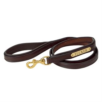 PADDED LTHR NMPLATE DOG LEASH