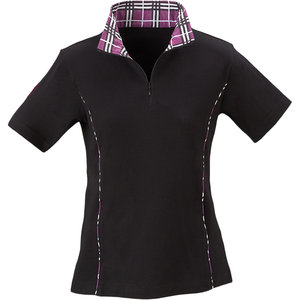 Riding Sport Plaid Trim Zip Mock