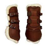 Dover Premier Leather Open Front Horse Boots with Fleece and Buckle Closure