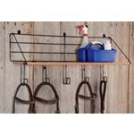 Wood Shelf With 5 Hooks